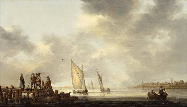 Cuyp Wall Art - Painting - A Pier In Dordrecht Harbor by Aelbert Cuyp