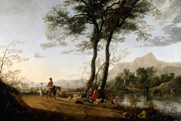 Cuyp Wall Art - Painting - A Road Near A River  by Aelbert Cuyp