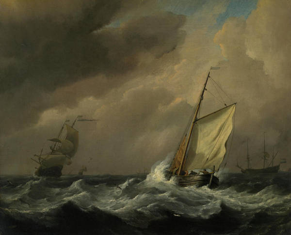 Ocean Scape Painting - A Small Dutch Vessel Close-hauled In A Strong Breeze by Willem van de Velde