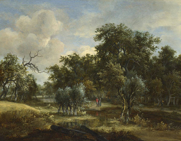 Meindert Hobbema Painting - A Stream By A Wood by Meindert Hobbema
