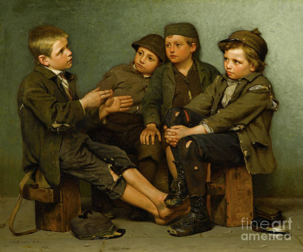 Wall Art - Painting - A Tough Story by John George Brown