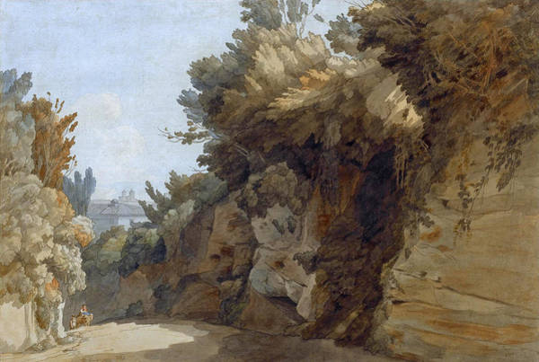 Villa Drawing - A View Near The Arco Scuro Looking Towards The Villa Medici Rome by Francis Towne