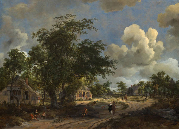 Meindert Hobbema Painting - A View On A High Road by Meindert Hobbema