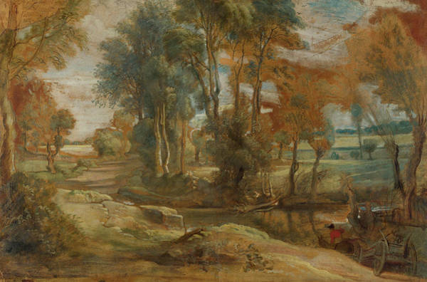 Waterway Painting - A Wagon Fording A Stream by Peter Paul Rubens