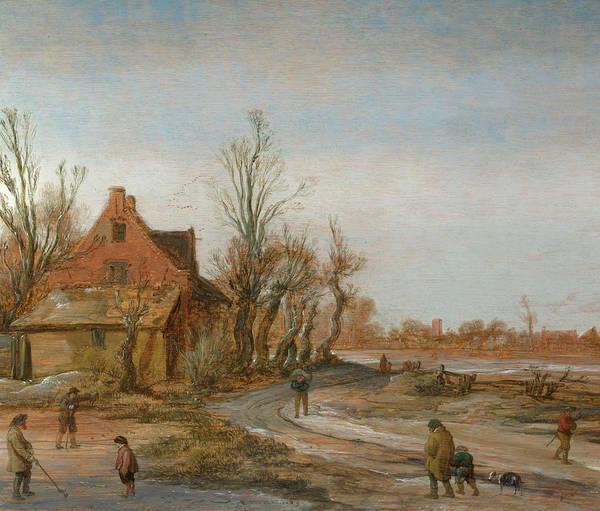 Winter Walk Painting - A Winter Landscape by Esaias van de Velde