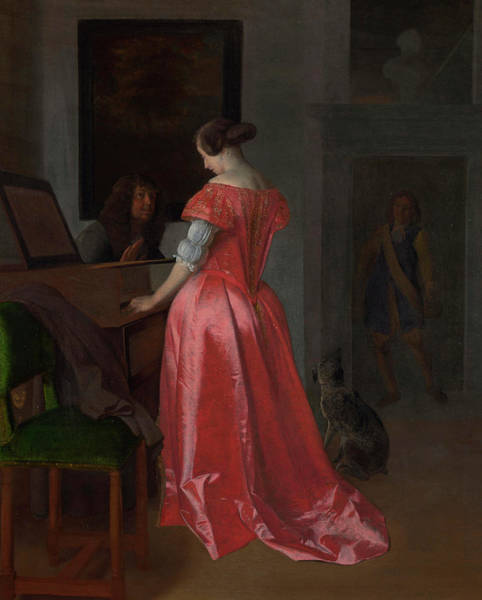 Hobby Painting - A Woman Standing At A Harpsichord, A Man Seated By Her by Jacob Ochtervelt