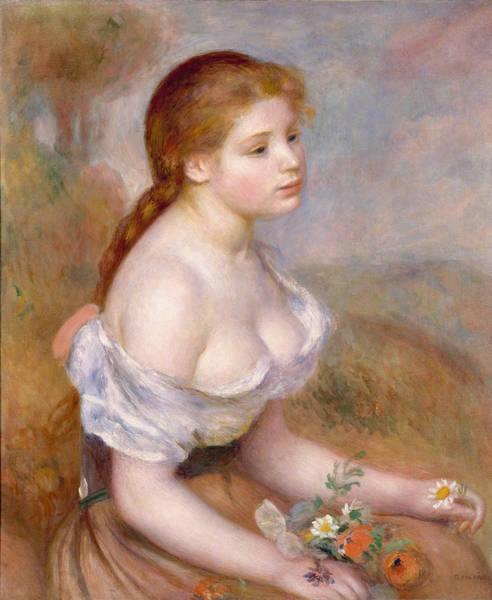 Painting - A Young Girl With Daisies by Auguste Renoir