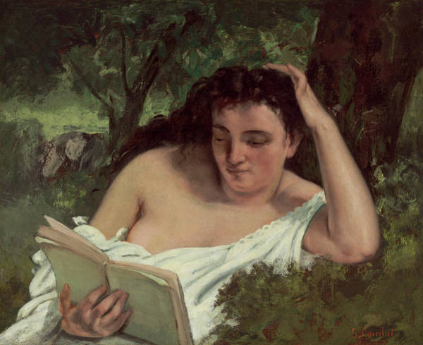 Painting - A Young Woman Reading by Gustave Courbet