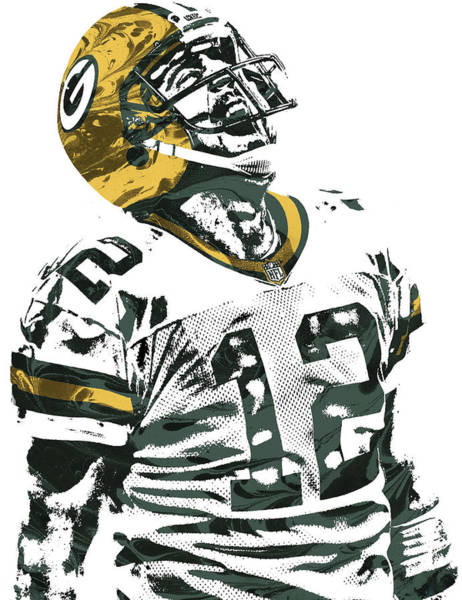 Green Fields Mixed Media - Aaron Rodgers Green Bay Packers Pixel Art 4 by Joe Hamilton