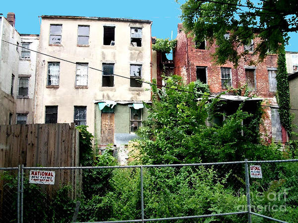 Photograph - 2 Abandoned Row Houses by Walter Neal