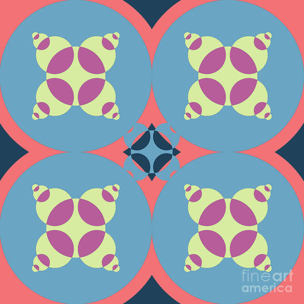 Wall Art - Digital Art - Abstract Mandala White, Pink And Blue Pattern For Home Decoration by Drawspots Illustrations