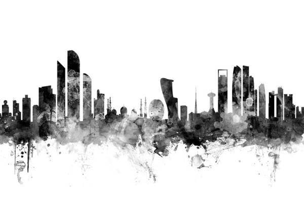 Arab Digital Art - Abu Dhabi Skyline by Michael Tompsett