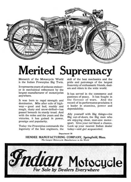 Photograph - Ad: Indian Motocycle, 1920 by Granger