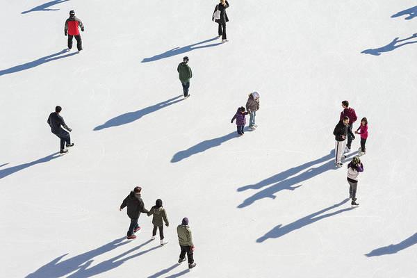 Aerial View Of Ice Skating Art Print