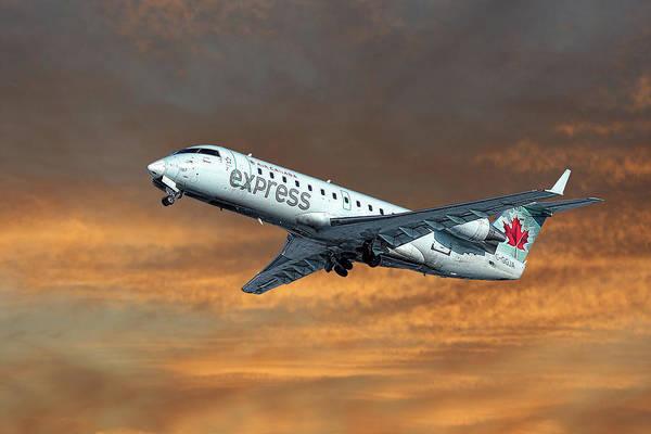 Wall Art - Mixed Media - Air Canada Express Bombardier Crj-200er by Smart Aviation