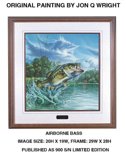 Freshwater Wall Art - Painting - Airborne Bass by JQ Licensing
