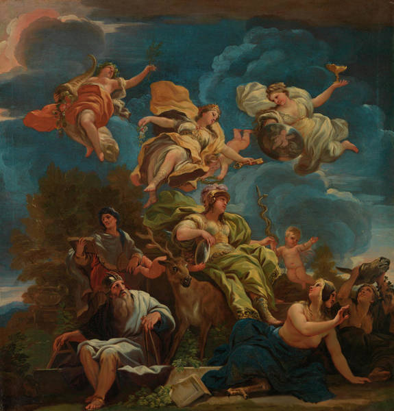 Goddess Of Love Wall Art - Painting - Allegory Of Prudence by Luca Giordano