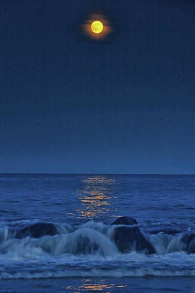 Photograph - Allenhurst Beach Full Moon Rise by Raymond Salani III