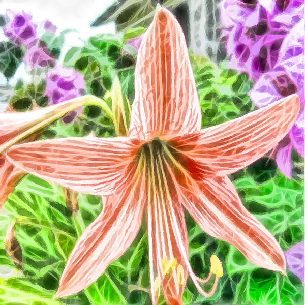 Amaryllis Painting - Amaryllis Blooms In A Garden by Jeelan Clark