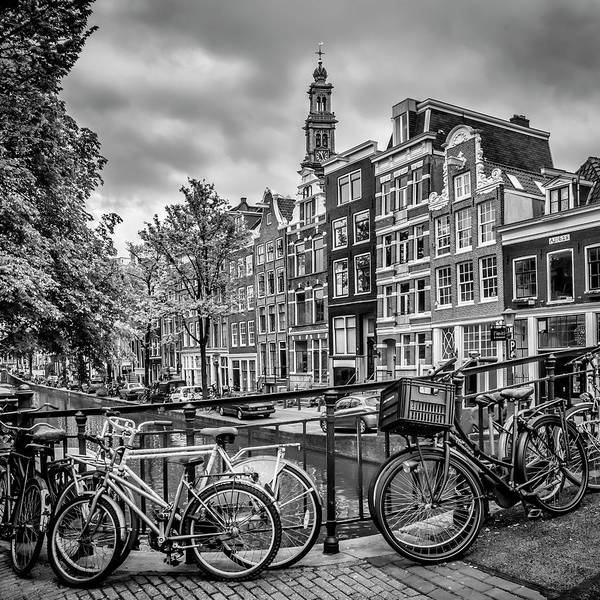 Wall Art - Photograph - Amsterdam Flower Canal Black And White by Melanie Viola