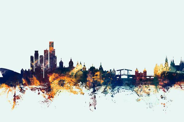 Amsterdam Wall Art - Digital Art - Amsterdam The Netherlands Skyline by Michael Tompsett
