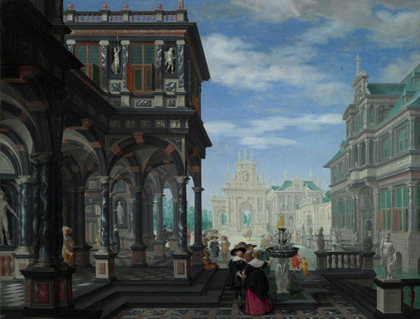 Gateway Painting - An Architectural Fantasy by Dirck van Delen