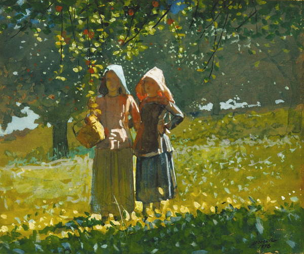 Wall Art - Painting - Apple Picking by Winslow Homer