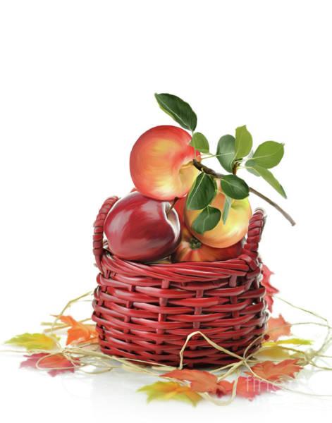 Cultivation Digital Art - Apples In A Basket  by Svetlana Foote