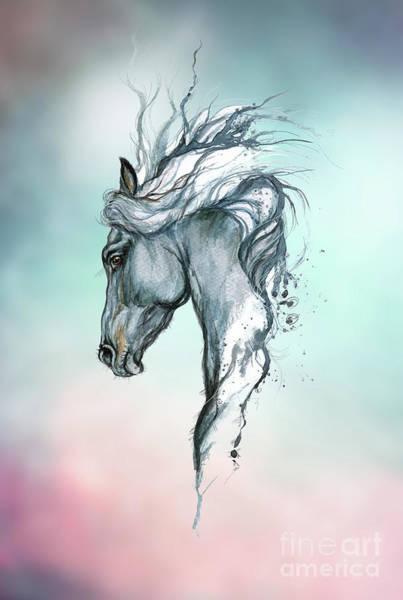 Wall Art - Digital Art - Aqua Horse by Angel Ciesniarska