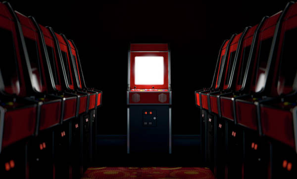 Controller Digital Art - Arcade Aisle With One Illuminated  by Allan Swart