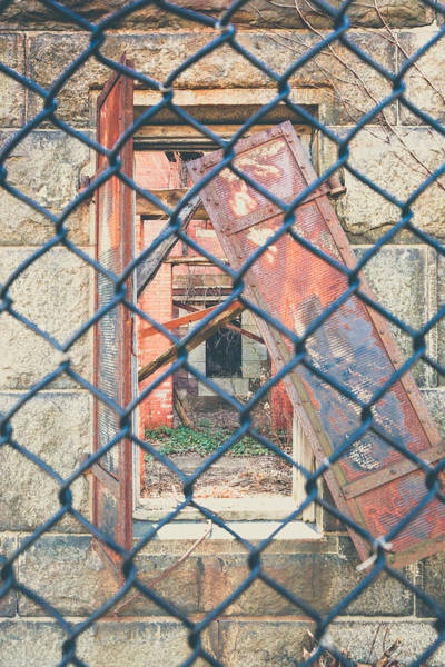 Chain Link Photograph - Architectural Decay by Erin Cadigan