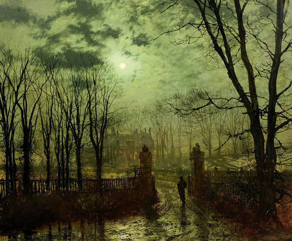 Painting - At The Park Gate by John Atkinson Grimshaw
