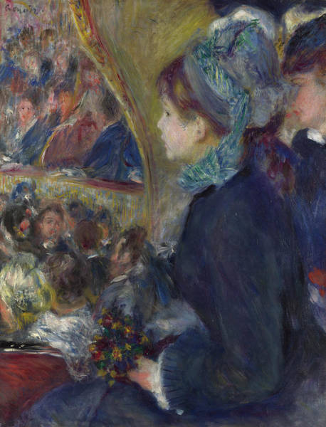 People Watching Painting - At The Theatre by Pierre-Auguste Renoir