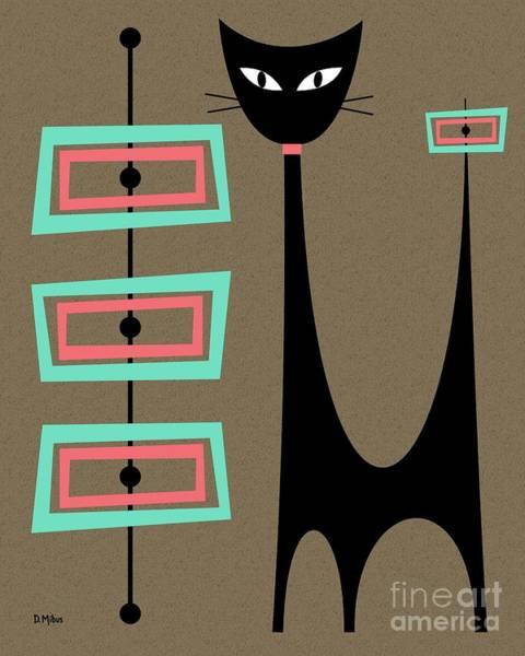 Digital Art - Atomic Cat Aqua And Pink by Donna Mibus