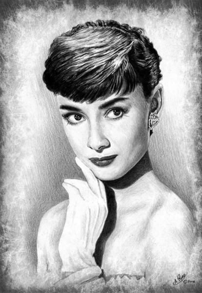 Nostalgia Drawing - Audrey Hepburn by Andrew Read