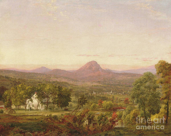 Upstate New York Painting - Autumn Landscape, Sugar Loaf Mountain, Orange County, New York by Jasper Francis Cropsey