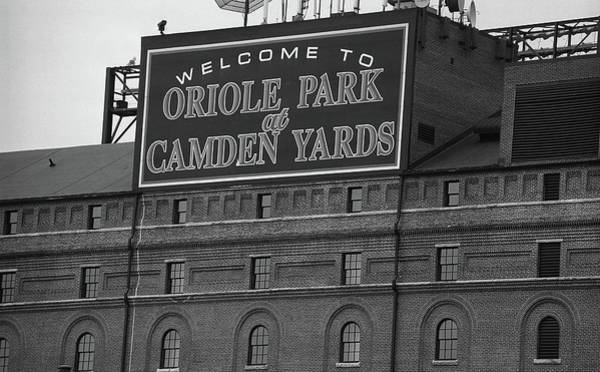 Buy Photograph - Baltimore Orioles Park At Camden Yards Bw by Frank Romeo
