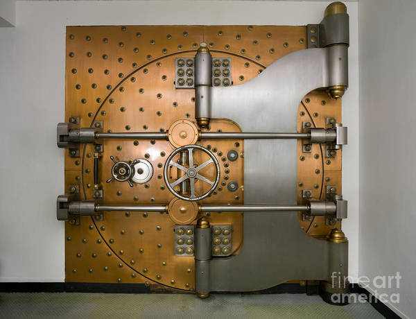 Capitalism Wall Art - Photograph - Bank Vault Door Exterior by Adam Crowley
