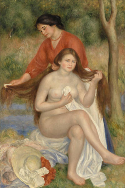 Wall Art - Painting - Bather And Maid by Pierre-Auguste Renoir