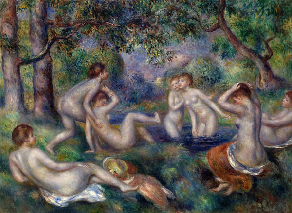 Wall Art - Painting - Bathers In The Forest by Pierre-Auguste Renoir