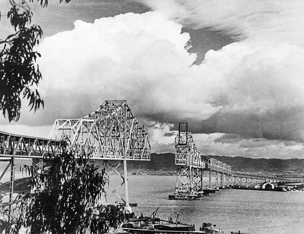 Wall Art - Photograph - Bay Bridge Under Construction by Underwood Archives