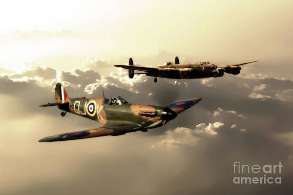 Wall Art - Digital Art - Bbmf Spitfire And Lancaster by J Biggadike