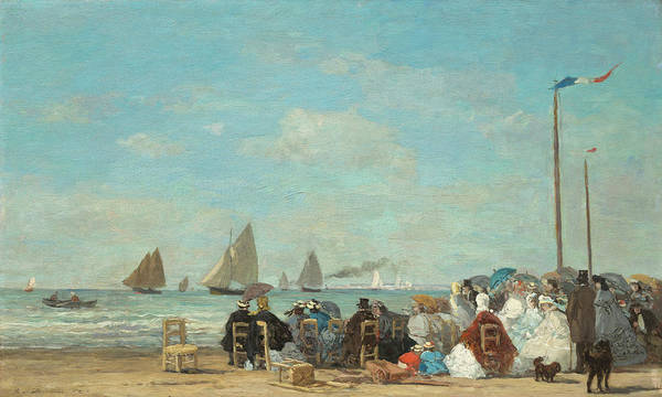 Painting - Beach Scene At Trouville by Eugene Boudin