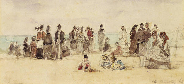 1864 Wall Art - Painting - Beach Scene by Eugene Louis Boudin