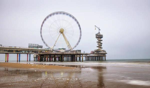 Scheveningen Pier Photograph - Beach View On The Pier In Scheveningen Near Hague, Netherlands by Miroslav Liska