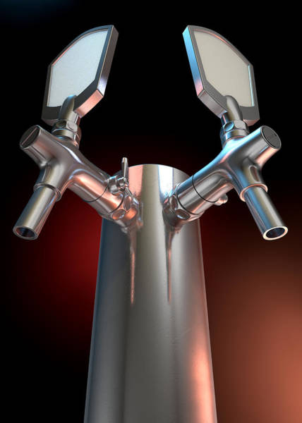Draught Digital Art - Beer Tap Dual Dark by Allan Swart