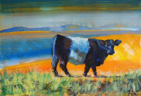 Painting - Belted Galloway Cow by Mike Jory