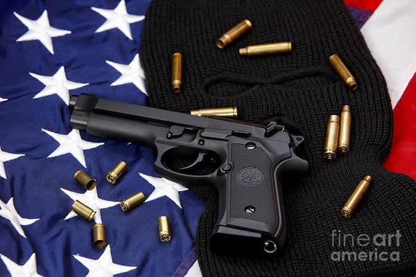 Beretta Photograph - Beretta Handgun Lying On Balaclava And United States Of America Flag by Joe Fox