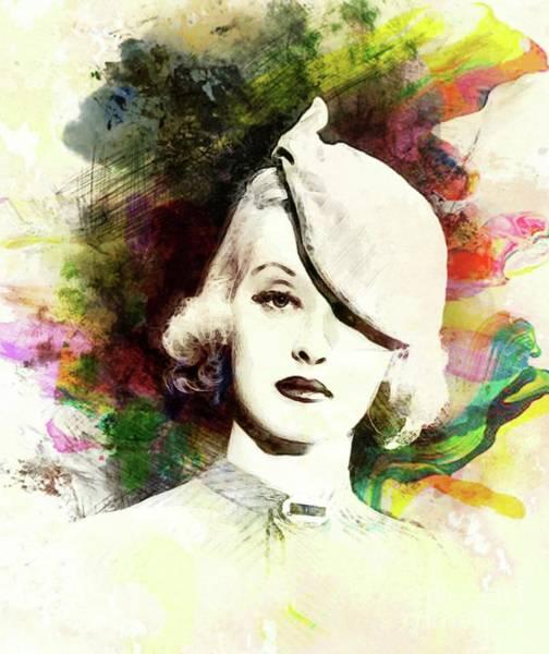 Davis Digital Art - Bette Davis, Vintage Actress by John Springfield