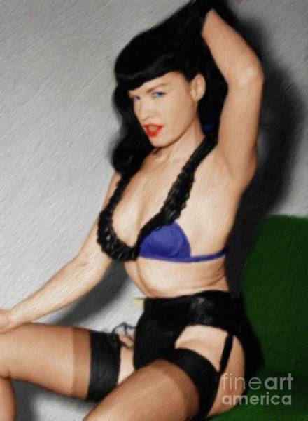Wall Art - Painting - Bettie Page, Pinup Star by Mary Bassett